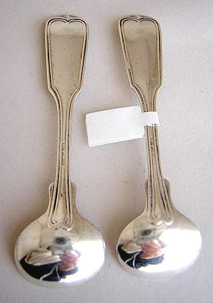 Coin Silver Master pair salt spoons Threaded pattern