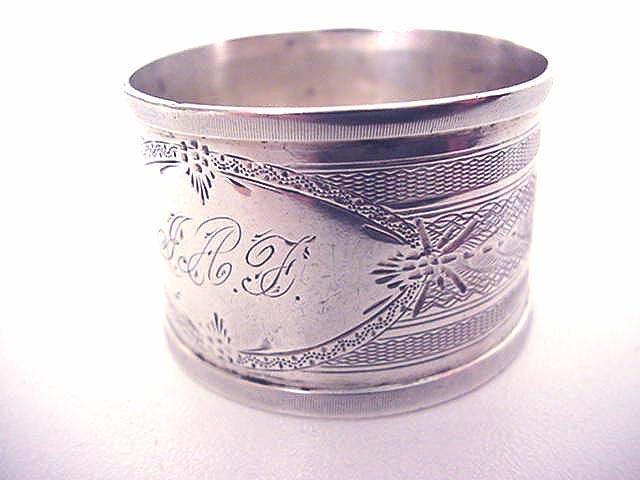 Napkin Ring Coin silver engine turned design