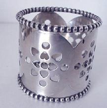 Napkin Ring Sterling beaded pierced hearts
