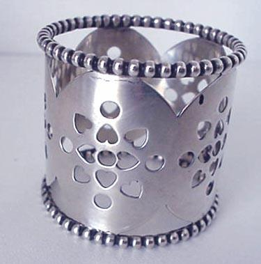 Napkin Ring Sterling beaded pierced hearts