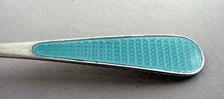 Chocolate spoon Tiffany blue enamel Watson