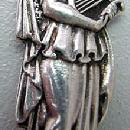Figural woman with harp Gorham seafood fork