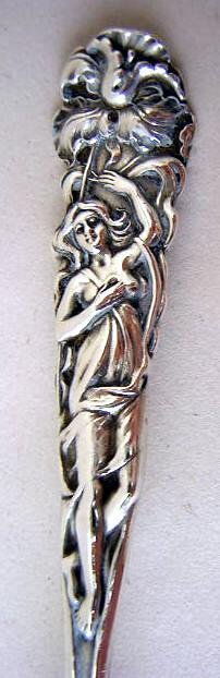 Raphael Alvin Teaspoon Jonquil  figural woman Sterling
