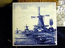 Delft Tile Hand Painted Windmill scene Blue and White