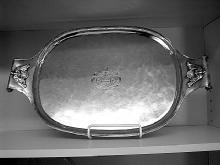 Silverplated Tray with sterling silver center cartouche area
