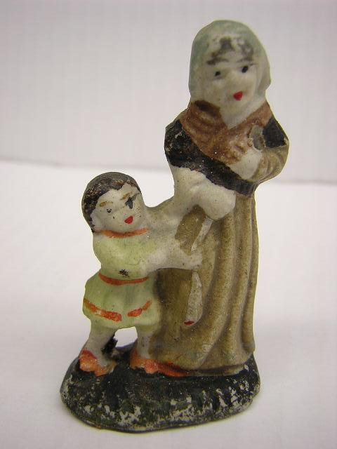 miniature figurine woman and boy   hand painted
