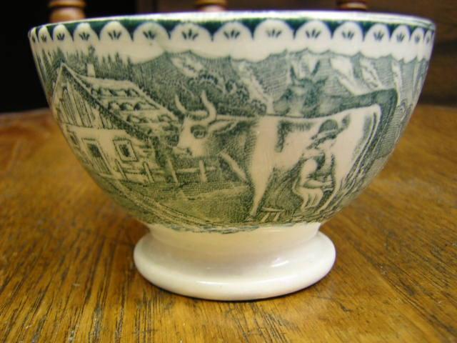 Tea cup Cows, Goat & florals transfer ware