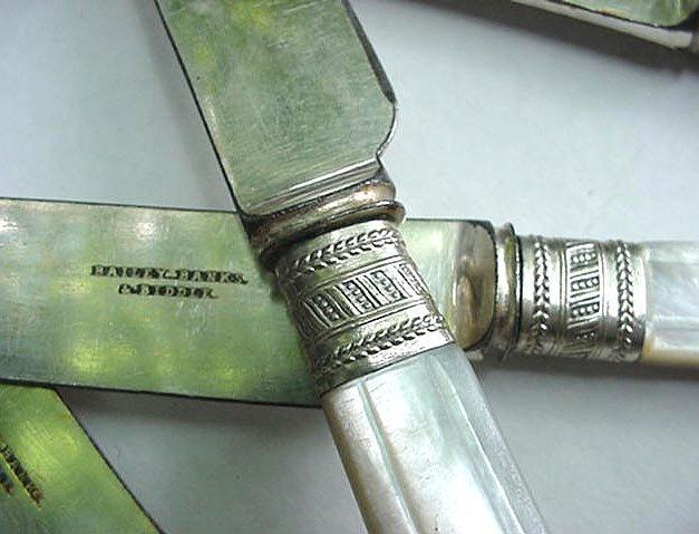 Mother of Pearl 12  Dinner knives sterling silver  carved handles