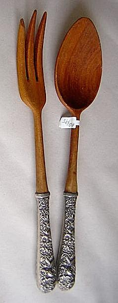 Repousse Salad Set Kirk Sterling Silver handles and Wood Ends