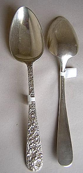 Repousse Serving Spoons Two  Kirk Sterling Silver Floral