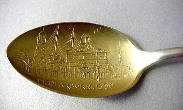 Souvenir spoon Watson Indian;Chicago;Fort Dearborn