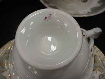 Cauldon England Early  Coffee and Tea Cups Unmarked Grey Gold and White