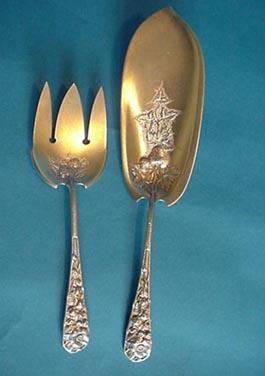 Eglantine Gorham Fish Set Sterling Silver Gold Washed