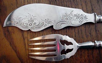 William Gale Fish Serving Set engraved