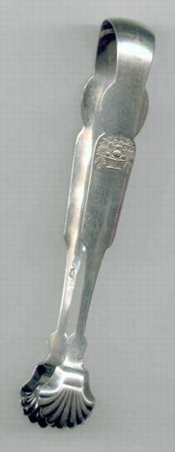 BASKET of  FLOWERS  coin silver TONGS