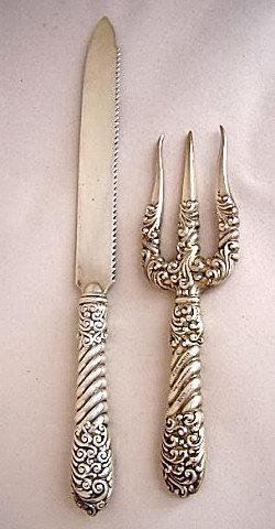 custom bread knife and fork gorham sterling silver