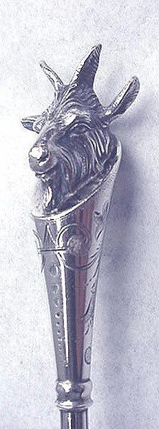 Figural Goat Head Coin silver boullion ladle  made by J B  in 1867
