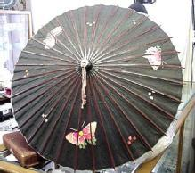 Japanese Umbrella Paper bamboo black with colorful butterflys