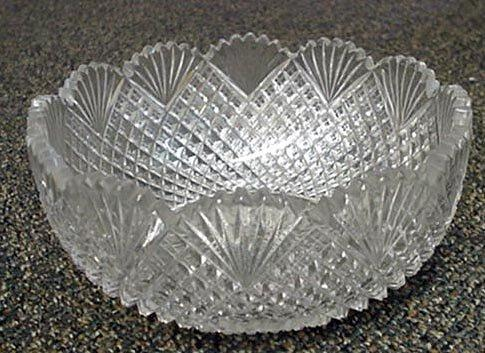 Cut Glass Strawberry  Diamond and Fan Bowl