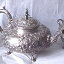 Kirk Repousse 11 oz. Tea Set Sterling Silver Indian finial 1870's