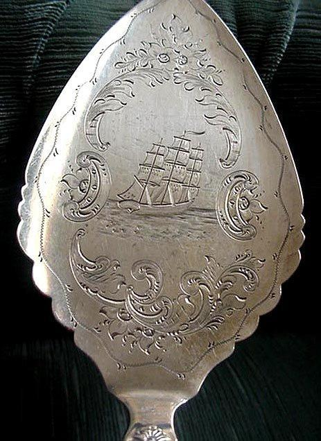 Pie Server Coin Silver Engraved Boat and Scene