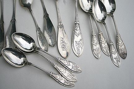 W & H Trifle Dessert Service Sterling silver Bright cut engraved