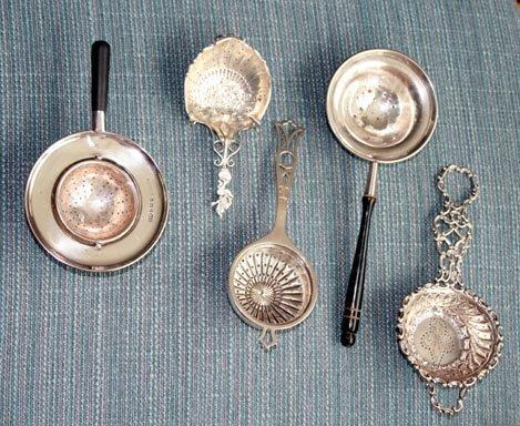 Tea Strainer Sterling Pierced handle fluted bowl