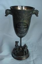 Trophy silverplate figural dogs fine detail