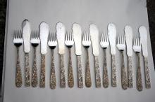 Repousse Kirk Fish Forks and Knives 8 sterling