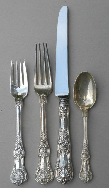 English King Tiffany Sterling 4 Dinner place settings old heavy