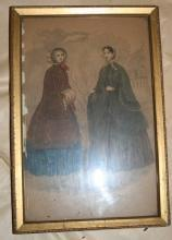 hoop skirts drawing of 2 women hand painted picture