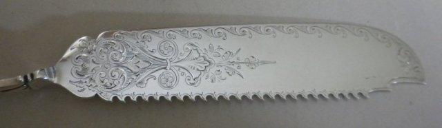 Medallion Gorham Sterling Cake knife engraved blade serrated twist handle