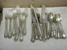 Chrysanthemum Durgin sterling silver 8 forks, 6 knives 8 tsp
