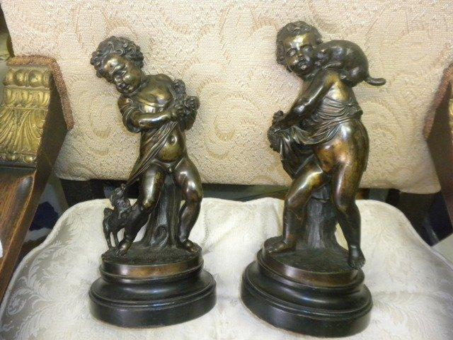 Bronze figures pair