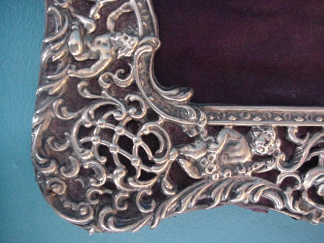 Ornate Cherubs Figural Frame Sterling Silver