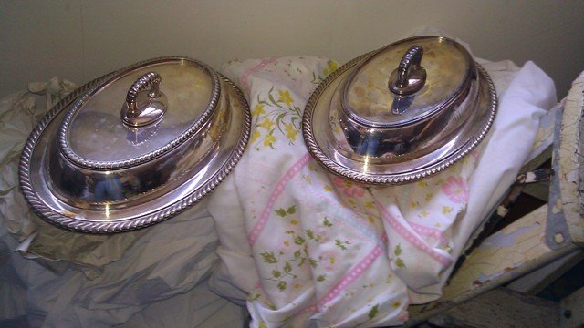 Covered Vegetable Servers silverplate gadroon edge covered