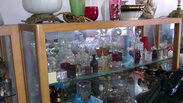 Bar bottles cut glass Heisey