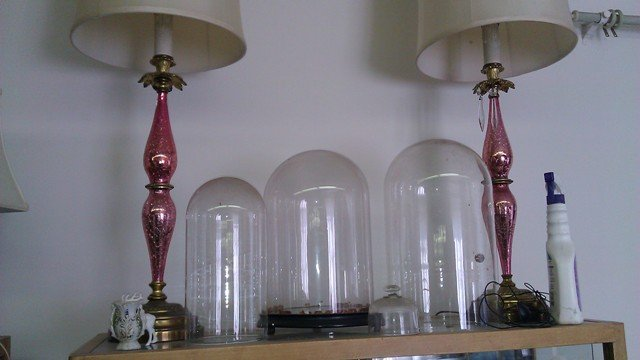 French crackle ornament lamps Pink mercury glass