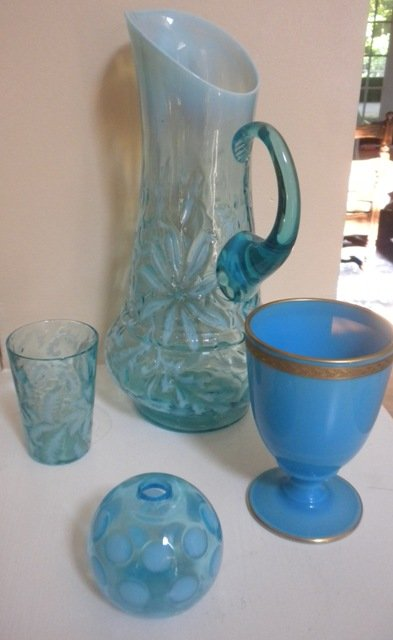 Glass light blue vase, cup, ball, tumbler