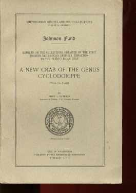 smithsonian Collection Report 1934 New Crab