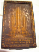 1933WOOD WALL HANGING OF CHICAGO FEDERAL BULI