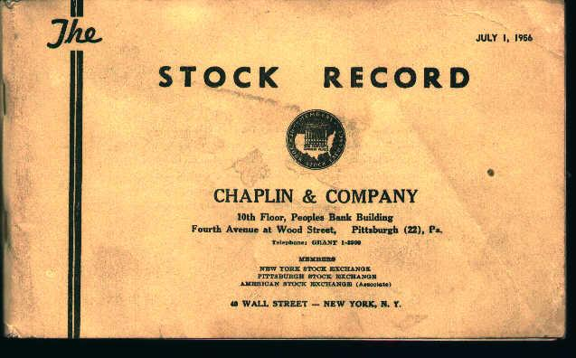 Stock Record for Chaplin and Company