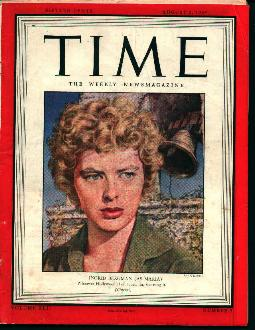 Time-8/2/43 Ingrid Bergman on Cover!