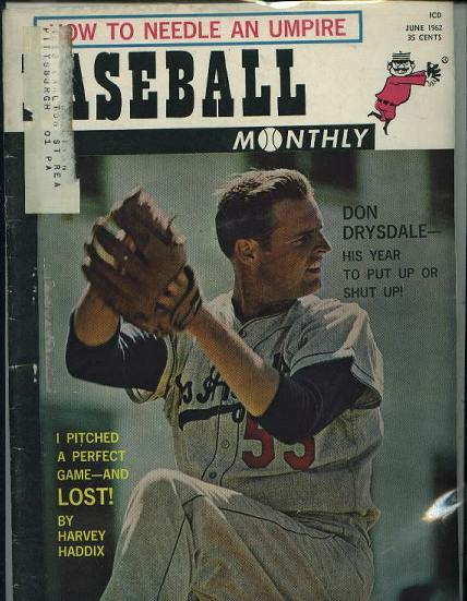 BASEBALL Monthly, Don Drysdale, 6/62