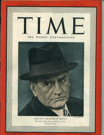 TIME, France's Edouard Daladier, 6/5/39