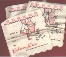 Set of 3 Cocktail Napkins Eden Roc Hotel 1960
