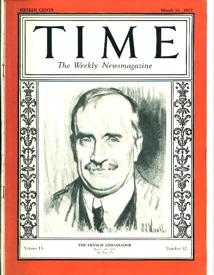 TIME, Fr. Ambassador Paul Claudel, 3/21/27