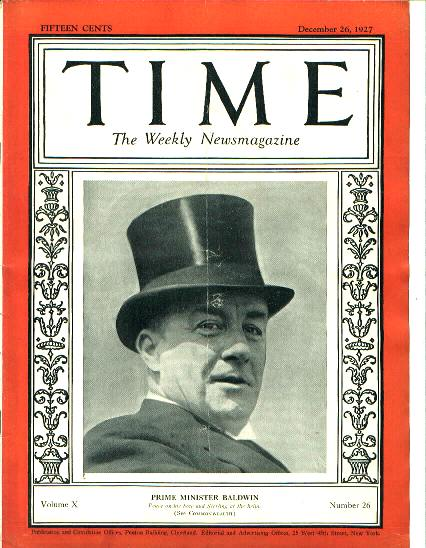 TIME, British Prime Minister Baldwin,12/26/27