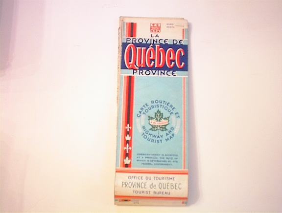 c1950's Quebec Highway and Tourist Map
