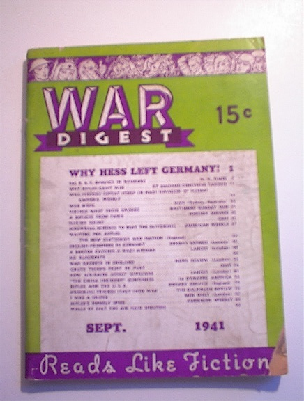 War Digest September.1941,Hess Left Germany